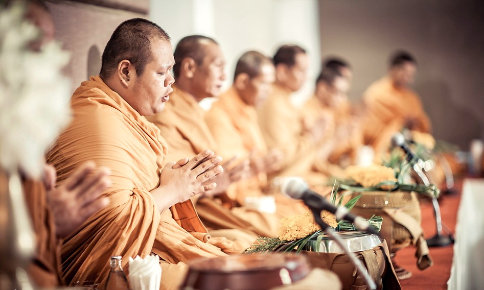 Monks at thai wedding
