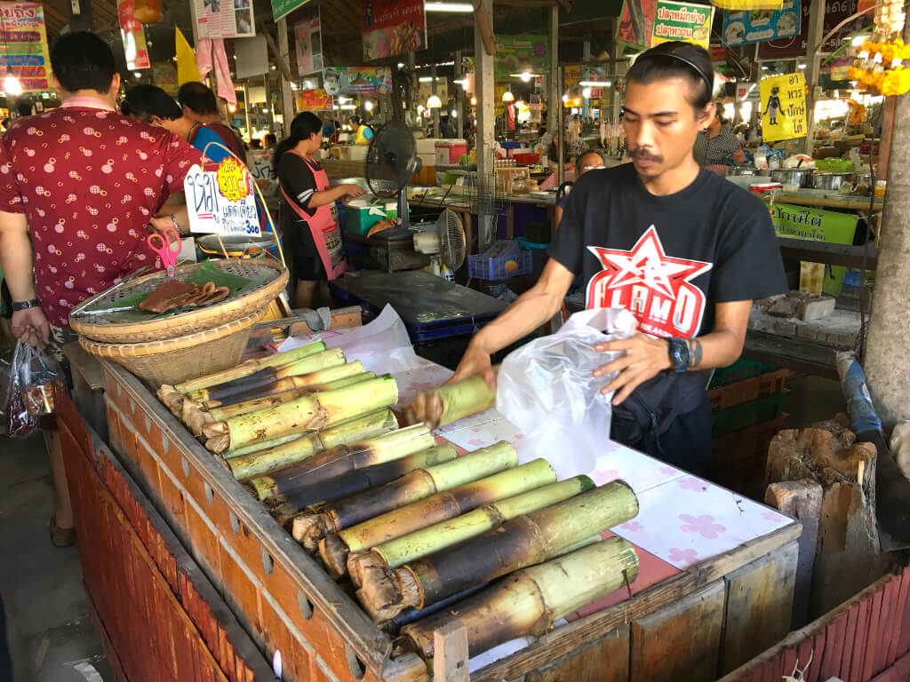 Grilled Sticky Rice in a Bamboo Tube, in Thai is called 'Khao Lam' ข้าวหลาม /kâao lăam/.