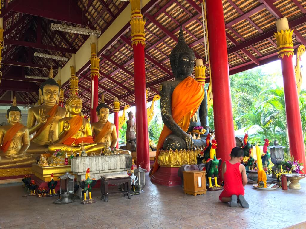 The boat tour let us stop at a local temple to worship the Buddha images.